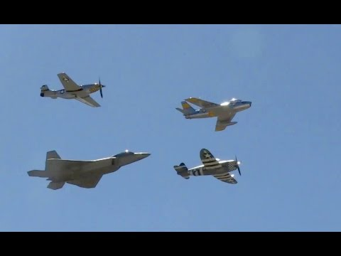 F-22 Raptor, P-51 Mustang, P-47 Thunderbolt & F-86 Sabre Flying In Unison