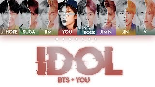 BTS (방탄소년단) – IDOL [8 Members ver.] + YOU as a member (Color Coded Lyrics)