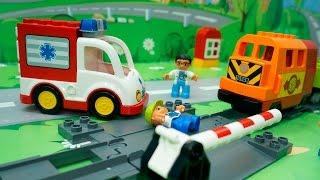 Мультики для детей Игры на железной дороге.Скорая помощь и Пожарная машина в видео для детей.
