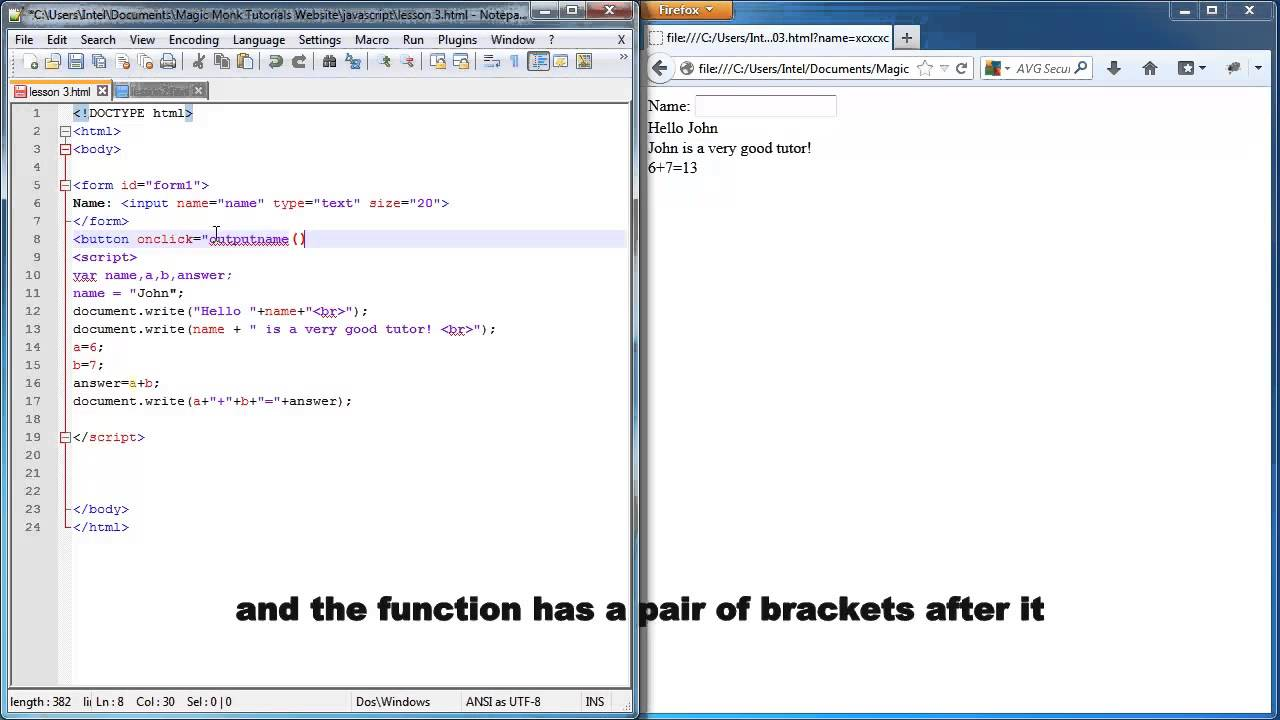 Javascript Lesson 3 Accepting Input From User Using Message Box Or Html Form