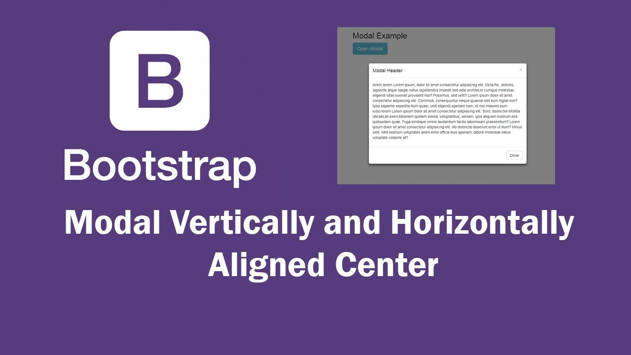 Bootstrap Modal Center Align Vertically and Horizontally Working