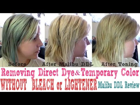 Removing Temporary Hair Color//Direct Dyes WITHOUT BLEACH//LIGHTENER//Malibu C DDL Review