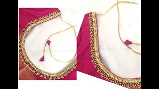 Most Beautiful Simple Beads Design with Normal Stitching Needle-Same Like AARI/ Maggam Work Blouse