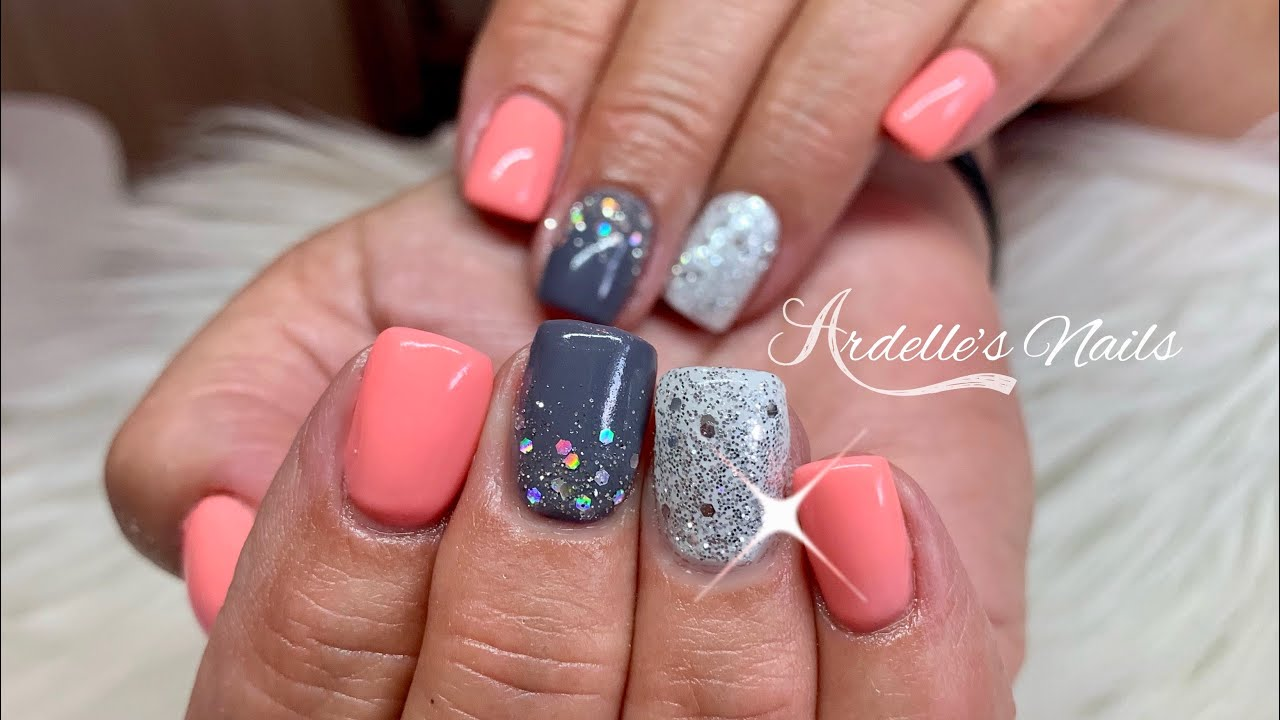 Short Cute Summer Nails/Acrylic Nails/Gel Polish/Glitter Gel
