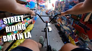 RIDING BMX ALL OVER DOWNTOWN LA (BMX)