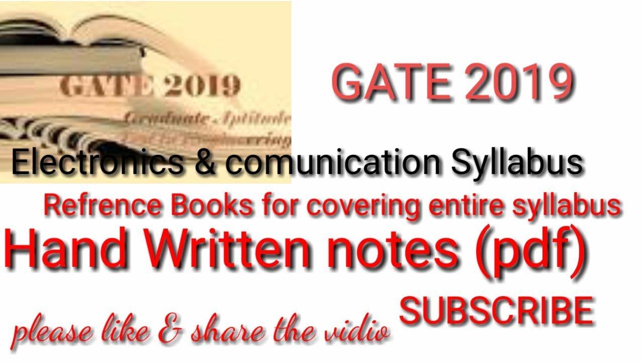 Gate Ece 2019 Hand Written Notes Pdf Syllabus Books Youtube Analog Integrated Circuits Free Bookstore