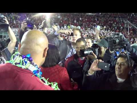 Stanford Cardinals: Coach David Shaw greeted by Condoleezza Rice at Rose Bowl Game