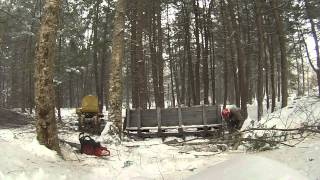 Doing Firewood With The D2 Caterpillar And Sled On The Snow In Vermont