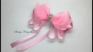 Украшение на заколку Канзаши / Розовый бант из атласа и органзы