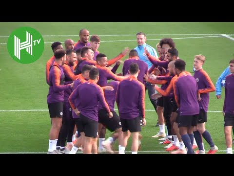 Manchester City train ahead of UEFA Champions League clash with Lyon - Manchester City v Lyon