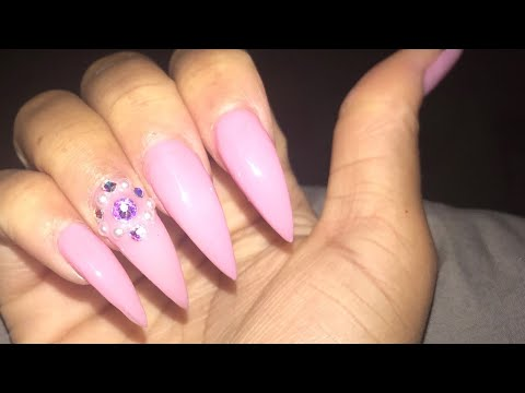 NO ACRYLIC! LONG PINK STILETTO NAILS AT HOME   GEL ...