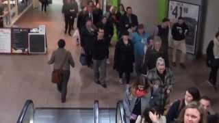 Adelaide Railway Station morning rush hour walking through Station Arcade Video 2015