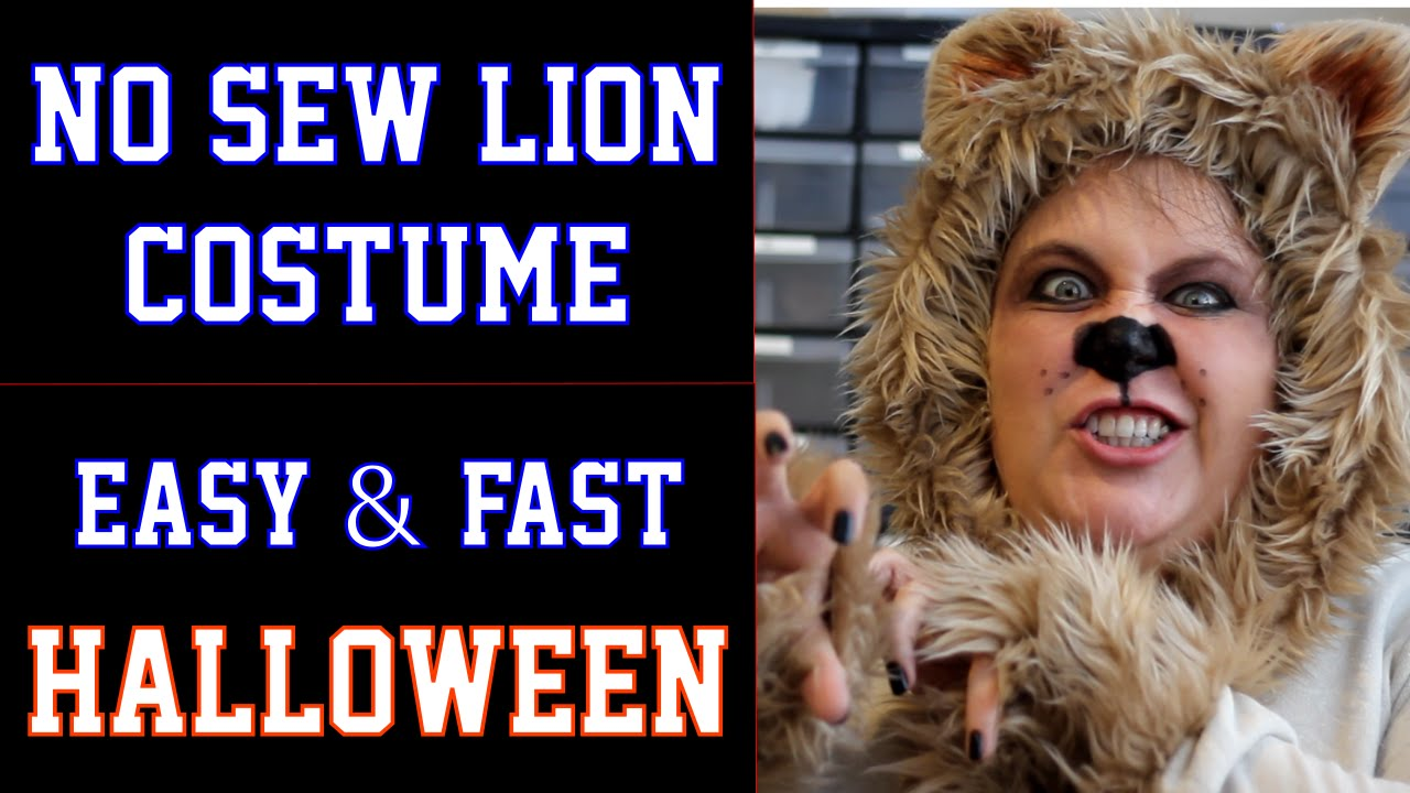 No Sew Lion Halloween Costume Diy Fast And Easy Wizard Of Oz Cowardly Lion
