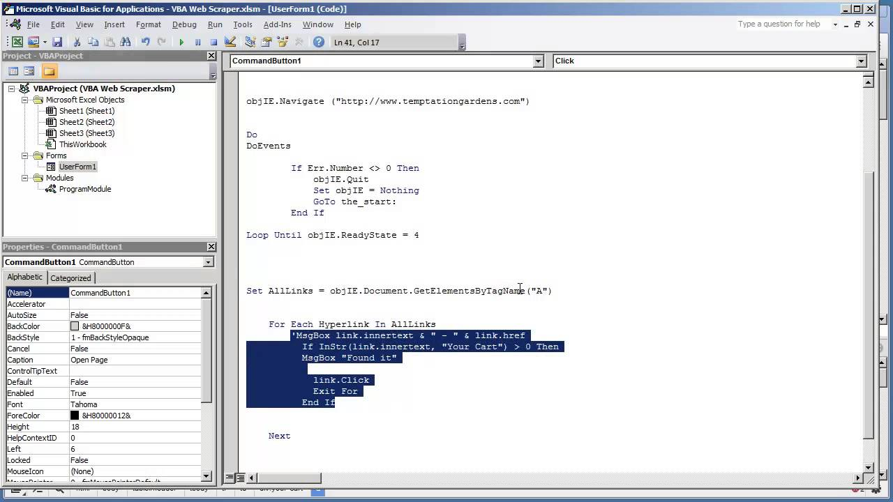 Web Scraper VBA Application1 14-How to read the values of Elements by Tag  Name