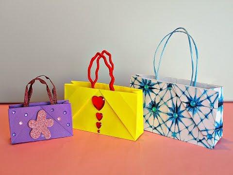 Оригами ПАКЕТ из бумаги ДЛЯ ПОДАРКА. BOLSAS de papel para regalo.DIY PAPER BAG ORIGAMI