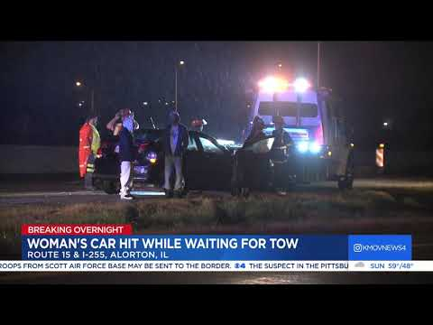 Woman hit while waiting for tow truck in Metro East
