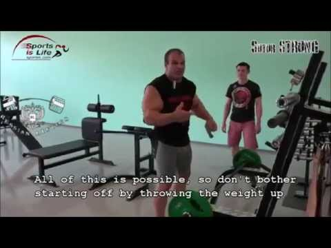 Denis Cyplenkov - Single Armed Olympic Barbell Curls (ENG subs)