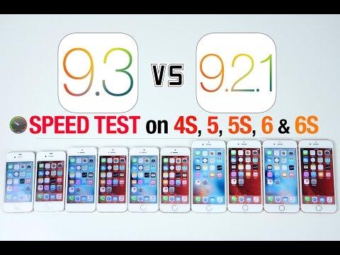 iOS 9.3 vs iOS 9.2.1 Speed Test on iPhone 6S, 6, 5S, 5 & 4S