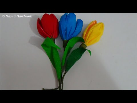 How to make crepe paper flower crepe paper tulip flower how to make youtube premium mightylinksfo