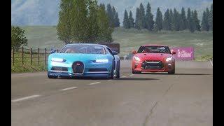 Battle Nissan GT-R 2017 vs Bugatti Chiron at Highlands