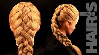 Заплетаем косу из пяти прядей с подхватами - видеоурок (мастер-класс) Hair's How.