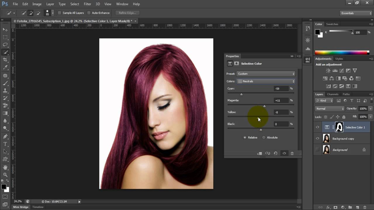 Photoshop Cs6 Change Hair Color Youtube