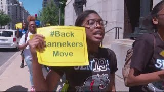WASHINGTON, DC: Banneker High School students protest inside Wilson building:
