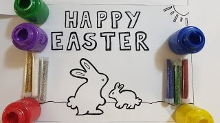 learn painting easter bunny for kids/learn glitter painting 4 happy easter page/learn colors paints