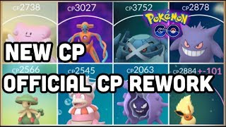 OFFICIAL CP REWORK NUMBERS FOR POKEMON GO | NEW CP FOR BLISSEY DEOXYS METAGROSS GENGAR & LOTS MORE!