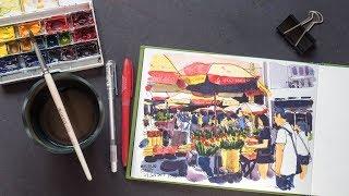 Waterloo Street Stalls Sketch (Timelapse)