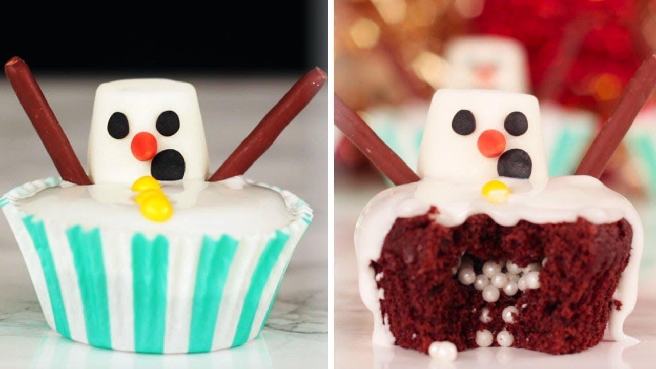 FUN Christmas Dessert Ideas | Yummy DIY SNOWMAN CUPCAKES and More ...