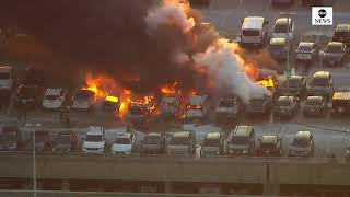 Newark Airport fire: Dozens of cars ENGULFED by flames at airport carpark