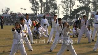 Young Taekwondo players of India - White belt and yellow belt