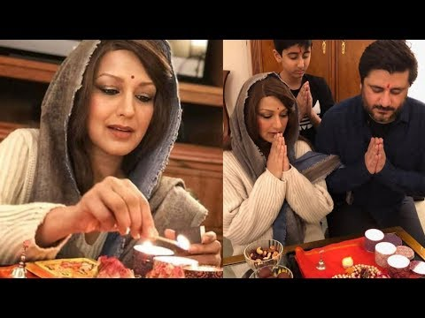 Final Stage Cancer victim Sonali Bendre celebrating Diwali with her family in NYC