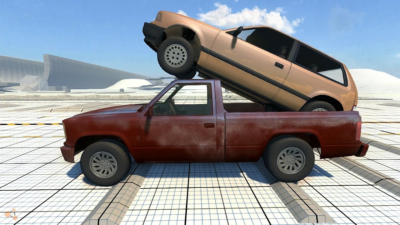 Beamng Drive Alpha Pickup Truck Transporting A Hatchback