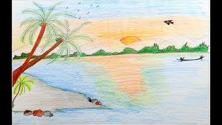 How to Draw a Scenery of Sunset step by step - Drawing Tutorial