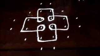 simple sikku melikala kolam with 6 2 2 straight   chukkala muggulu with dots  rangoli design