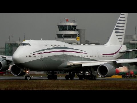 VIP B747-8I (A7-HBJ) Qatar Amiri Flight - first time in DUS (HD)
