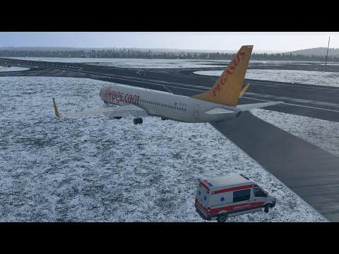 Pegasus Airlines B737 Flight PC747 Skids off Runway, Istanbul Sabiha Gökcen (LTFJ) [XP11]