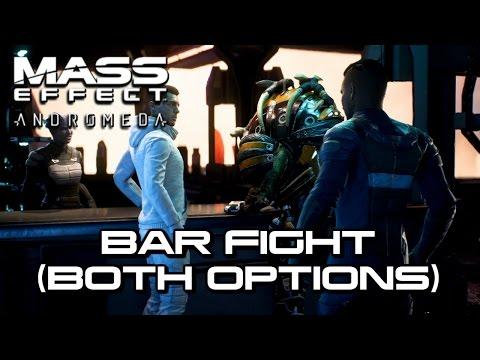 Mass Effect Andromeda - Ryder & Drack Bar Fight (Both Options)