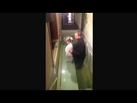 Parker's baptism 2/15/15 @ Central Baptist Church, Magnolia, AR  - baptized by her Daddy.