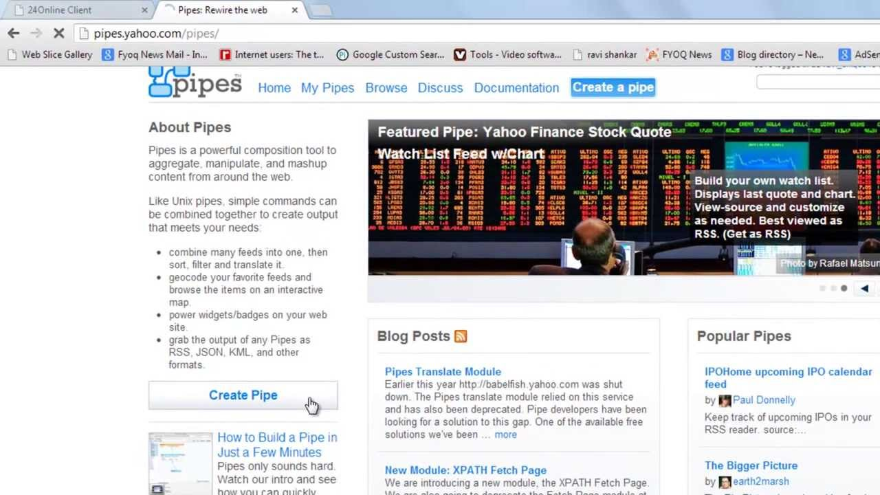 How to know RSS Feed of any website using yahoo pipes