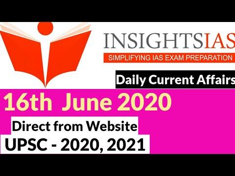 Insight IAS Current Affairs | 16th June 2020 | IAS 2020 | IAS Exam 2020 | UPSC Prelims 2020