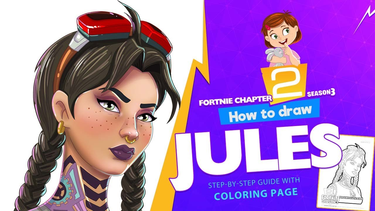 How To Draw Jules Fortnite Chapter 2 Step By Step Drawing Tutorial With A Coloring Page Youtube