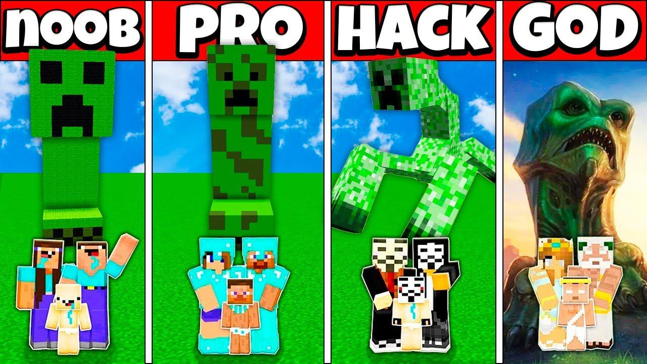 GIANT CREEPER BUILD CHALLENGE - NOOB vs PRO vs HACKER vs GOD Minecraft Animation