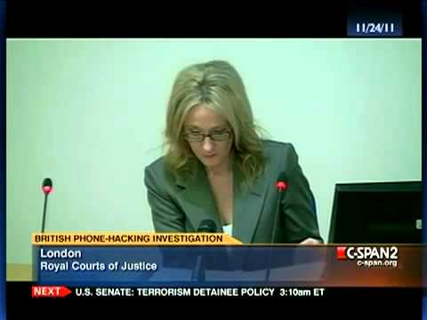J K  Rowling  Harry Potter Author   British Phone Hacking Scandal Inquiry Testimony