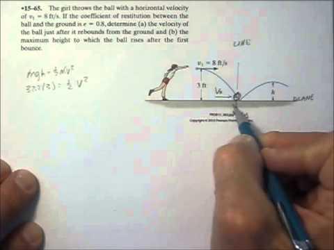 Dynamics 15.4b Oblique impact against a wall