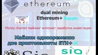 Майнинг сиакойн siacoin mining dual mining Ethereum+Siacoin nanopool настройки