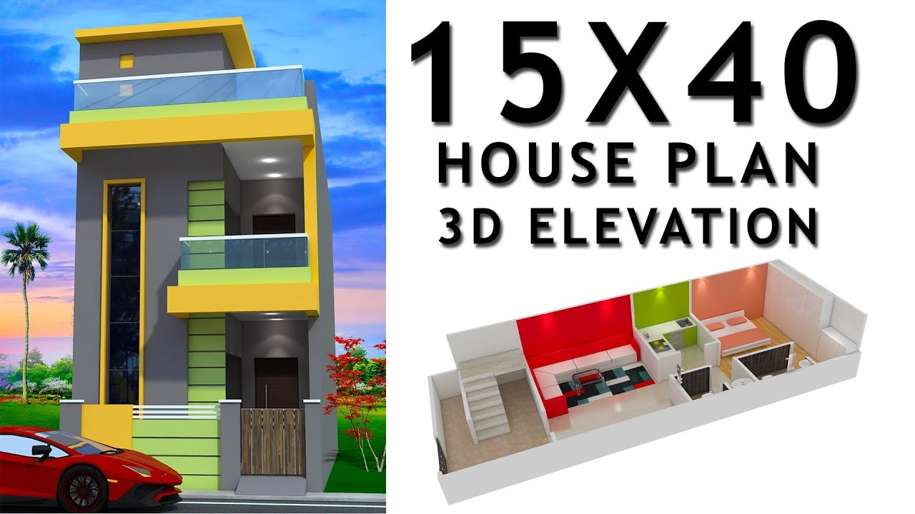 15X40 House plan with 3d elevation by nikshail - YouTube