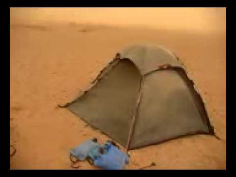 Tent in the wind storm Gobi desert.mp4